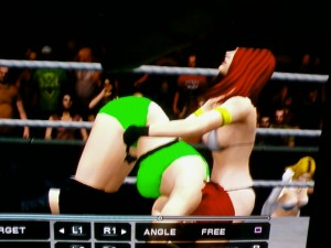 Jennifer Needles prepares to gutwrech powerbomb Brenda Rua (WWE 2011)