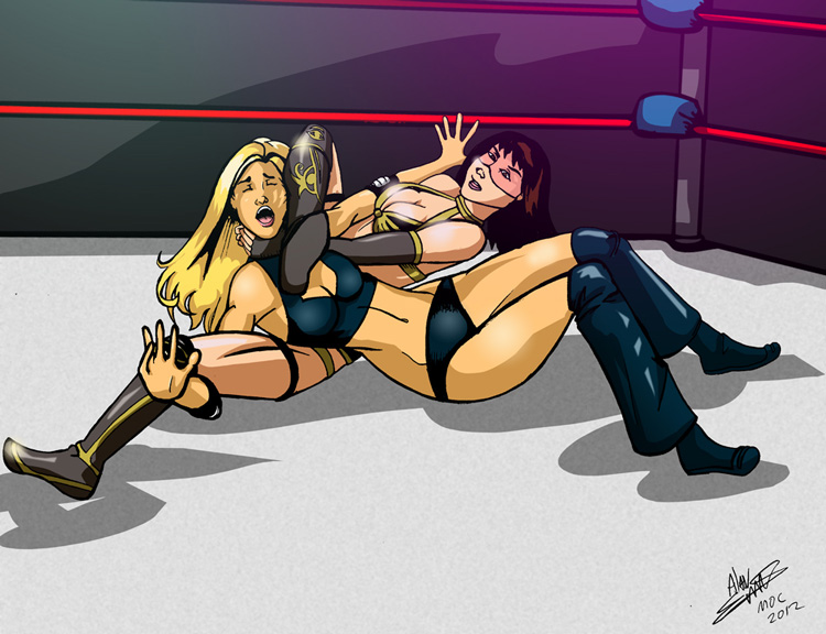 Tusmi vs Sabrina and it looks like Sabrina has to tap to the Spider Twist submission!